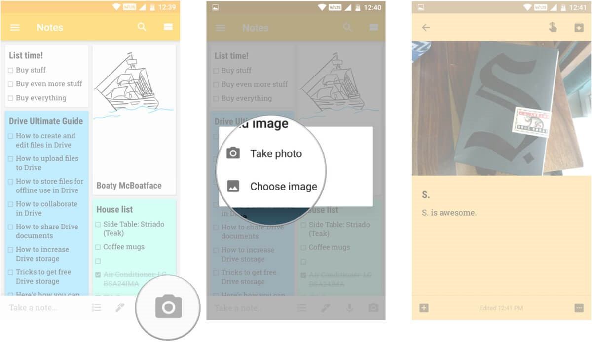 take photo google keep