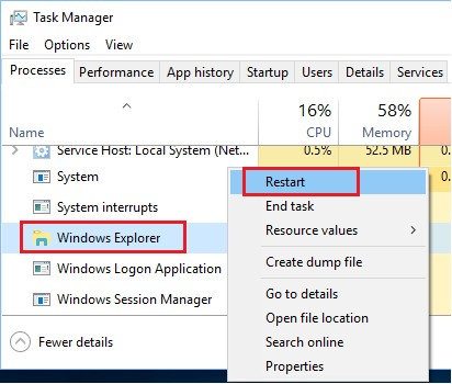 task manager windows explorer