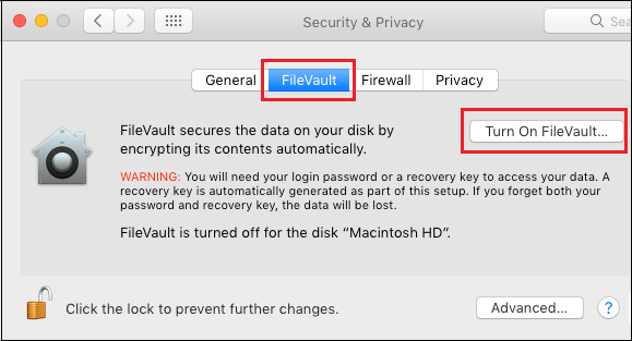 turn on filevault