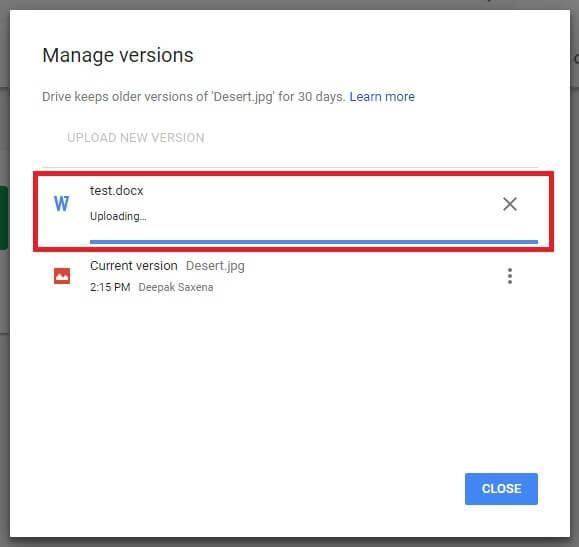 uploading file google drive