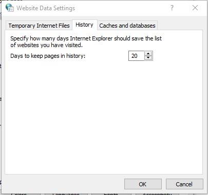 web data settings history