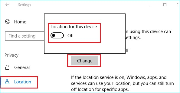windows 10 location