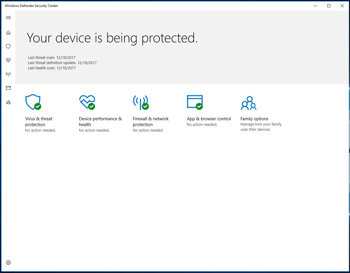 windows defender on windows 10