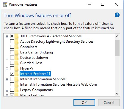 windows feature internet explorer