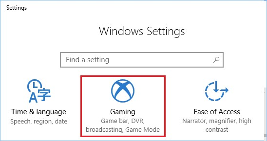 windows settings gaming
