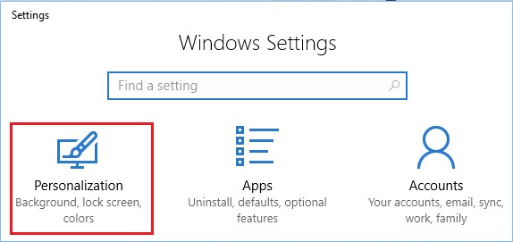 windows settings personalization