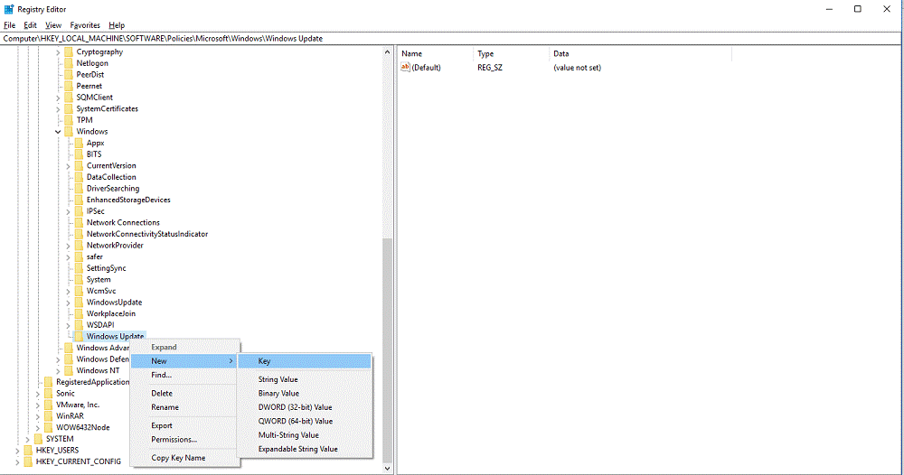 windows update registry