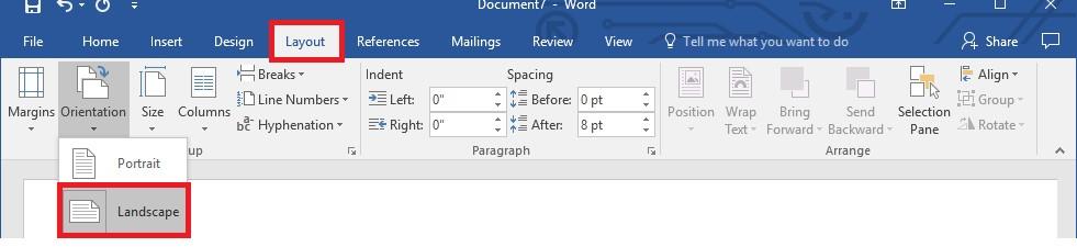 word layout landscape