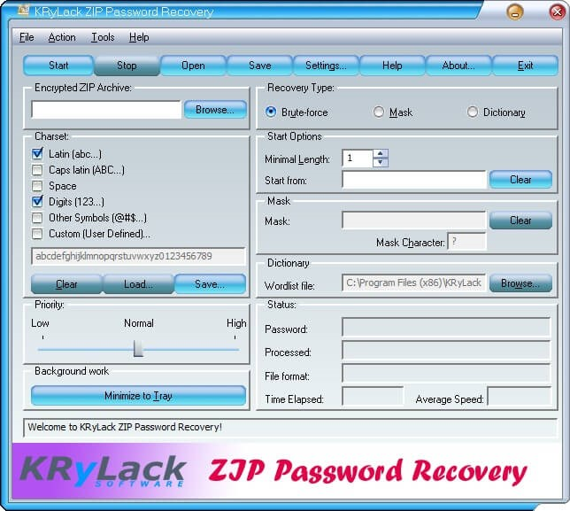 KRyLack Free ZIP Password Recovery