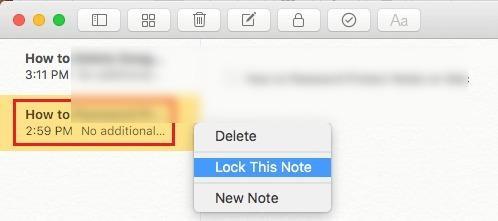 Lock note Mac