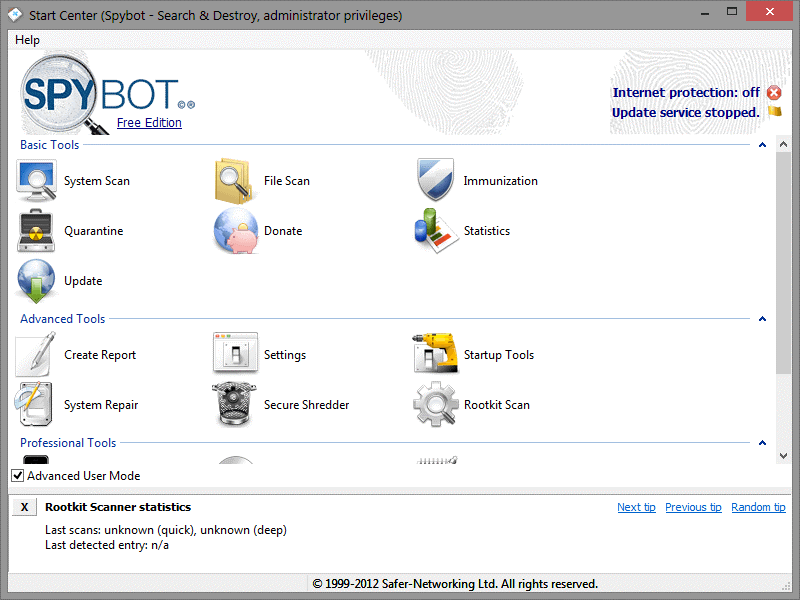 Spybot Search & Destroy- malware removal