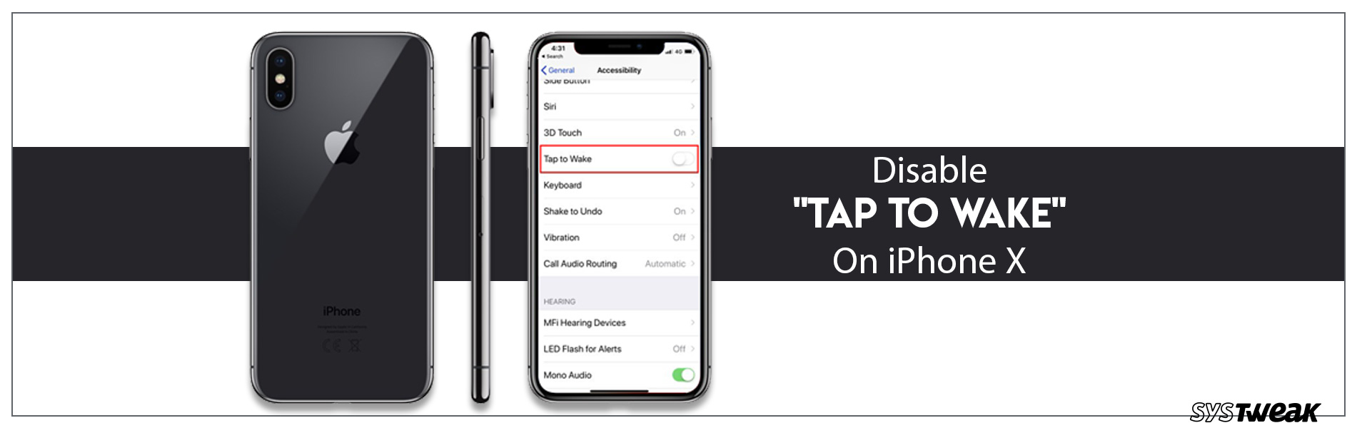 How to Disable/Turn Off 'Tap to Wake' feature on iPhone X