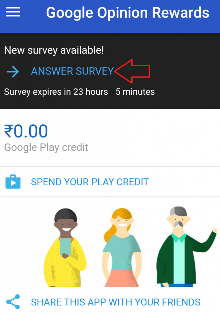 answer survey on google opinion rewards apps