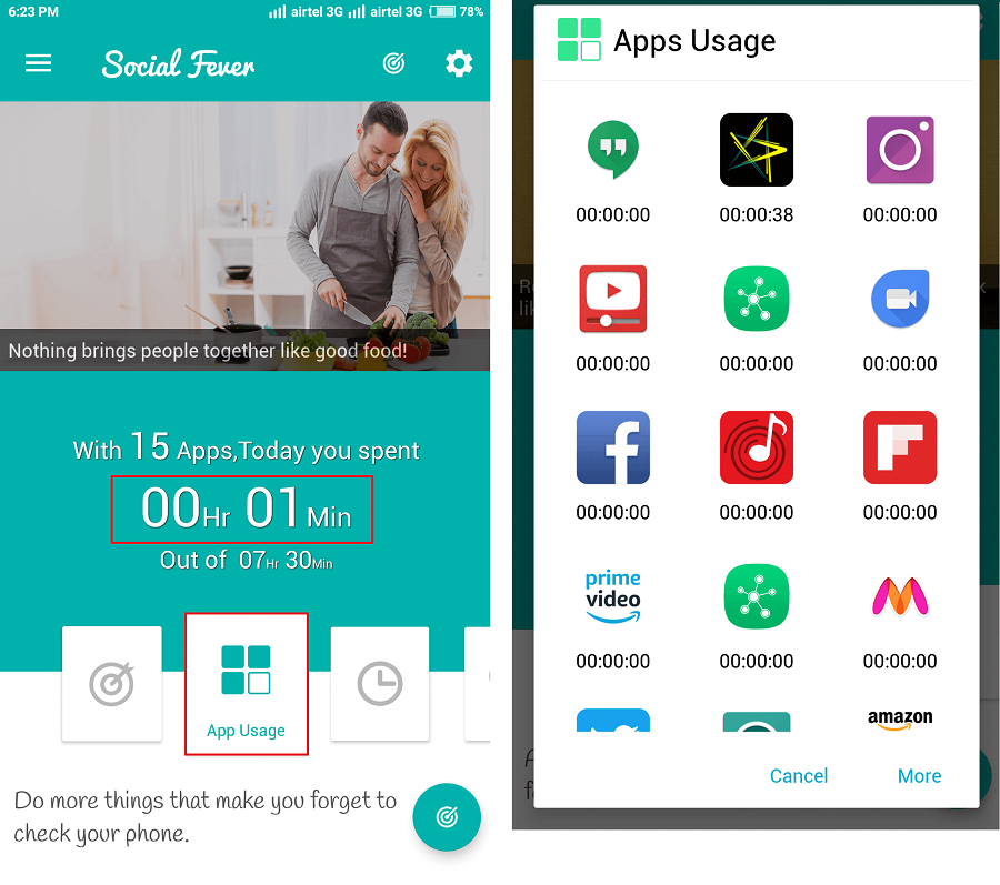 app usages social feaver