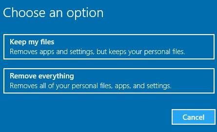choose option windows 10
