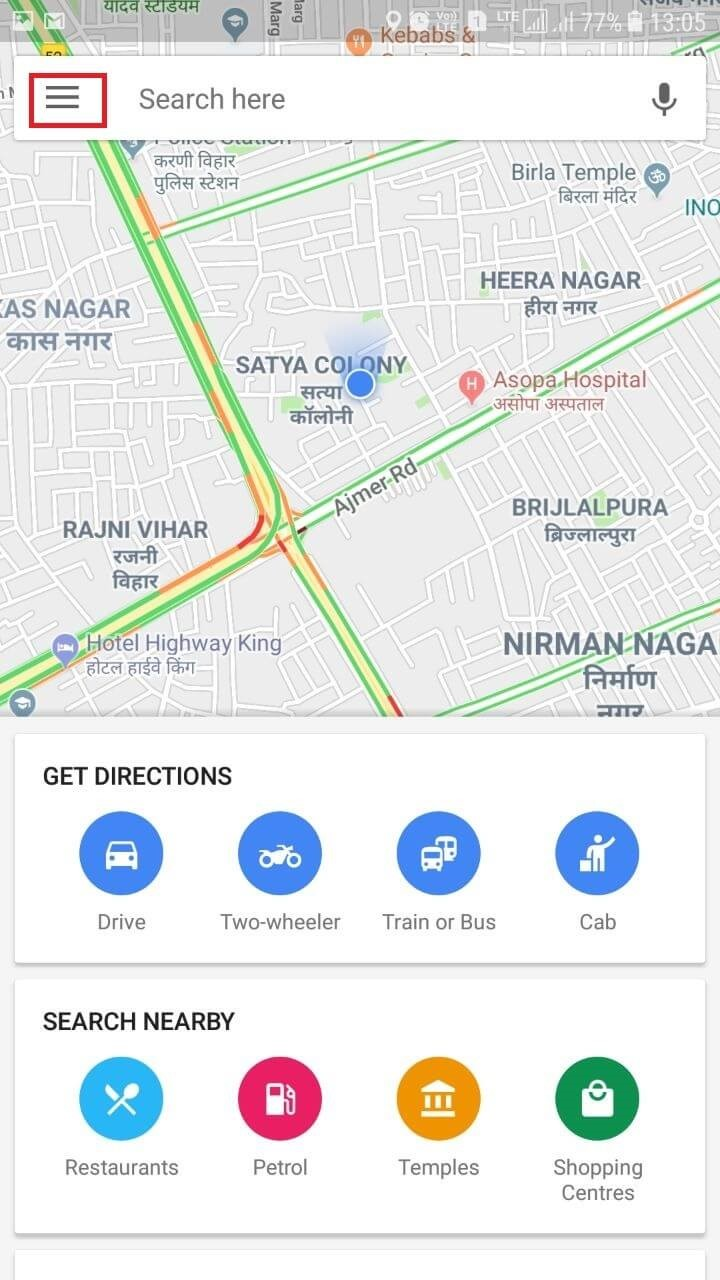 google maps horizontal lines