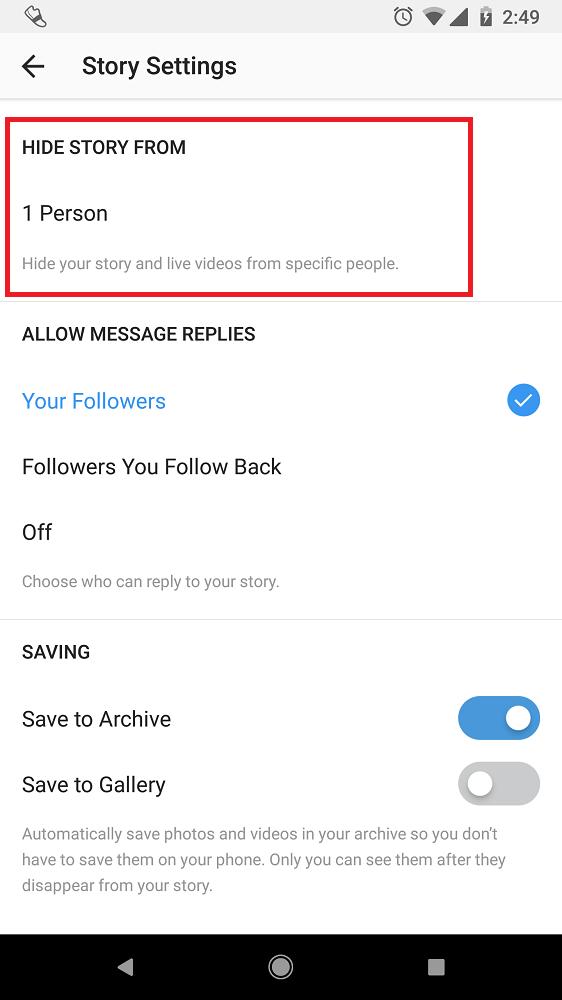 instagram story settings