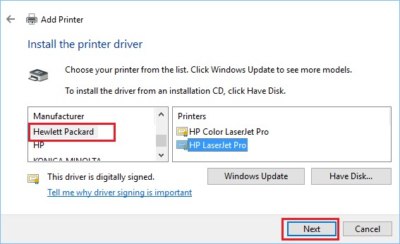 install driver for printer