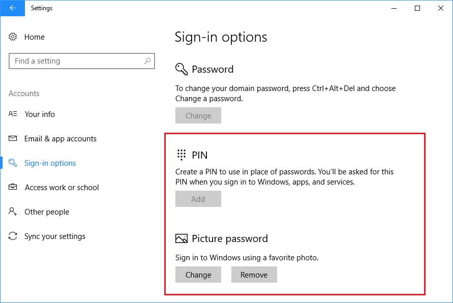 multiple sign in option windows 10