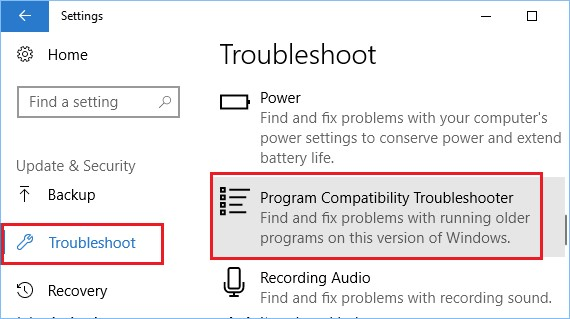 troubleshoot program compatibility troubleshooter