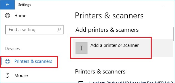 windows settings printers and scanners