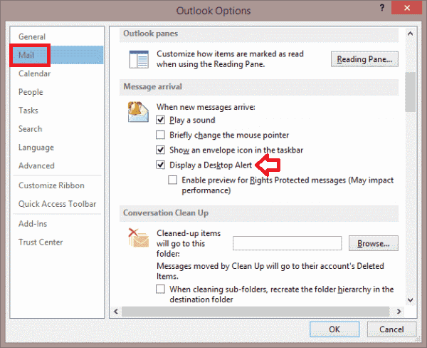 Desktop Notification for Incoming Mail in Outlook-3