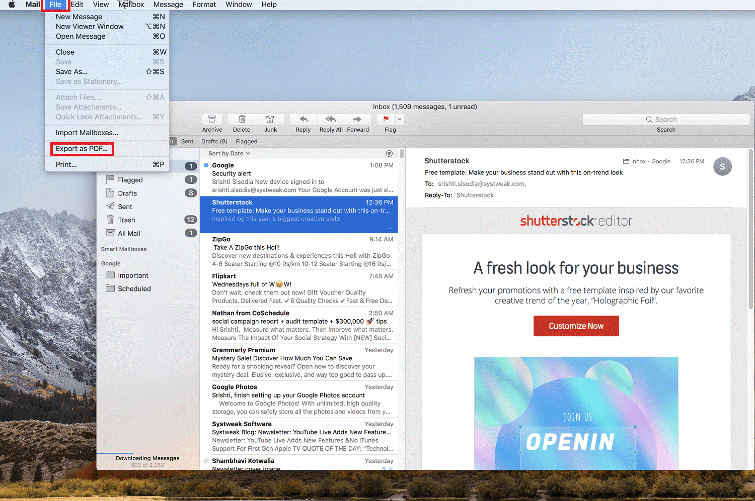 Email to PDF on Mac
