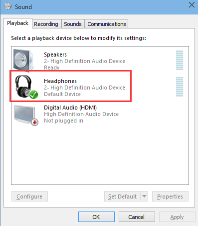 audio device is not set as default windows 10