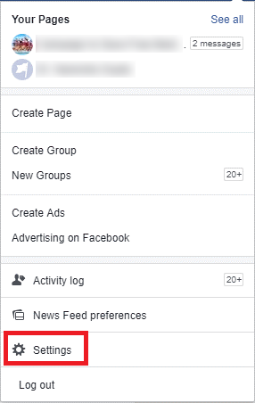 settings on facebook pages