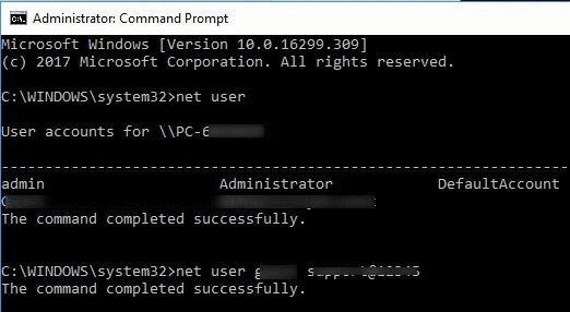 user account new password cmd