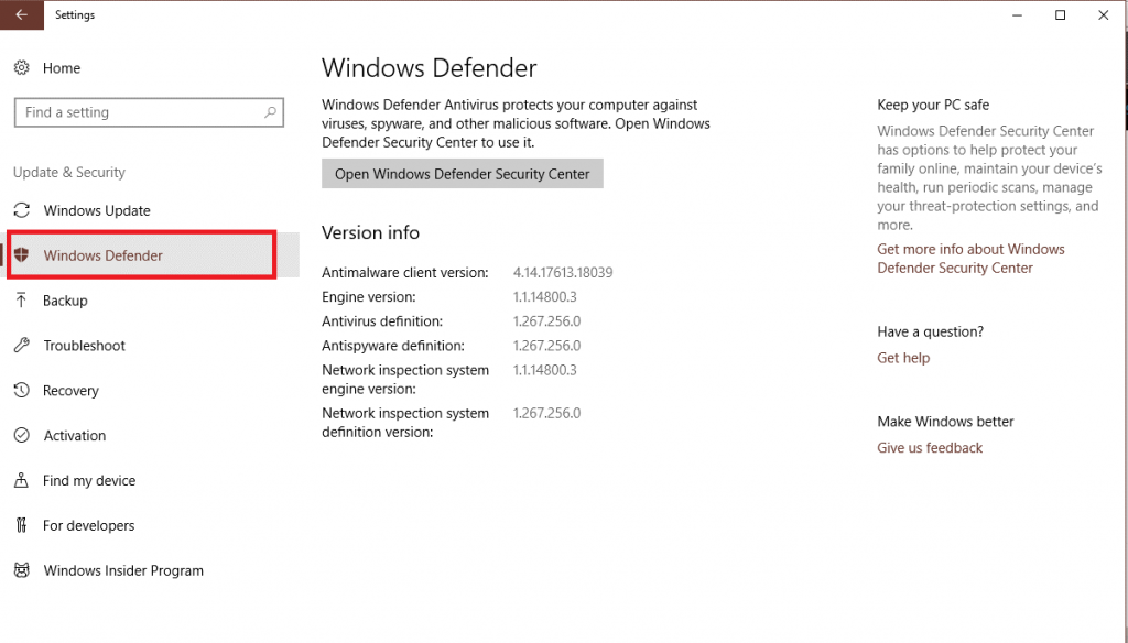 Check Windows Defender