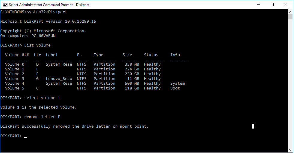 Hide Drive Using Command Prompt5