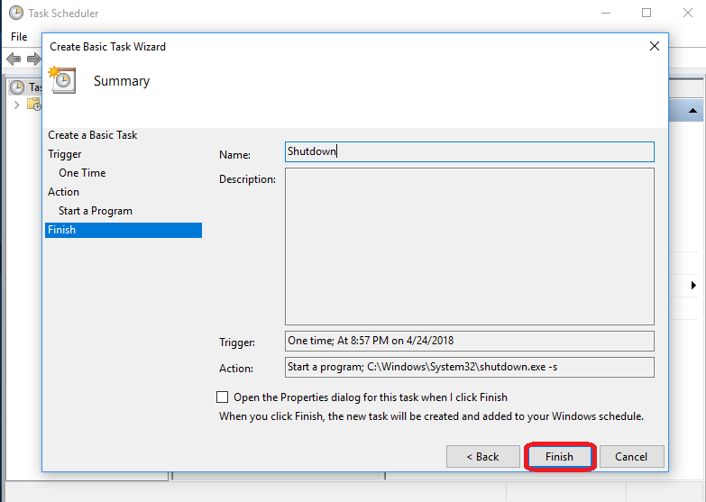Make a Basic Task Named Shutdown step-10