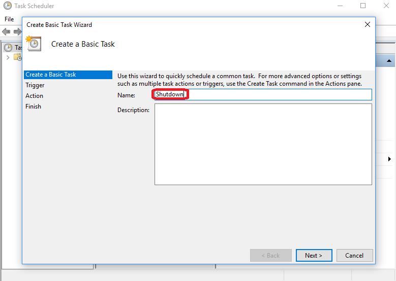 Make a Basic Task Named Shutdown step-4