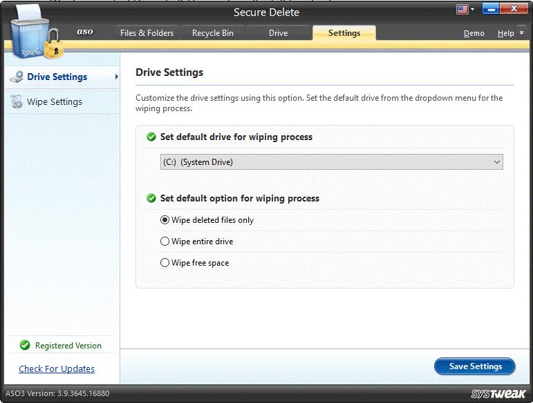 drive settings
