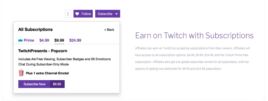 earn to twitch with subscriptions