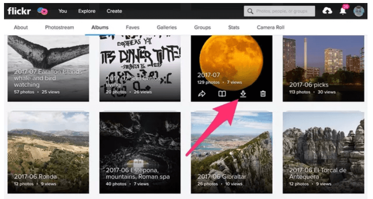 how to export flickr album