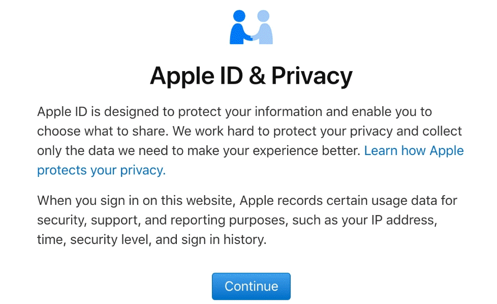 Apple ID & Privacy Page