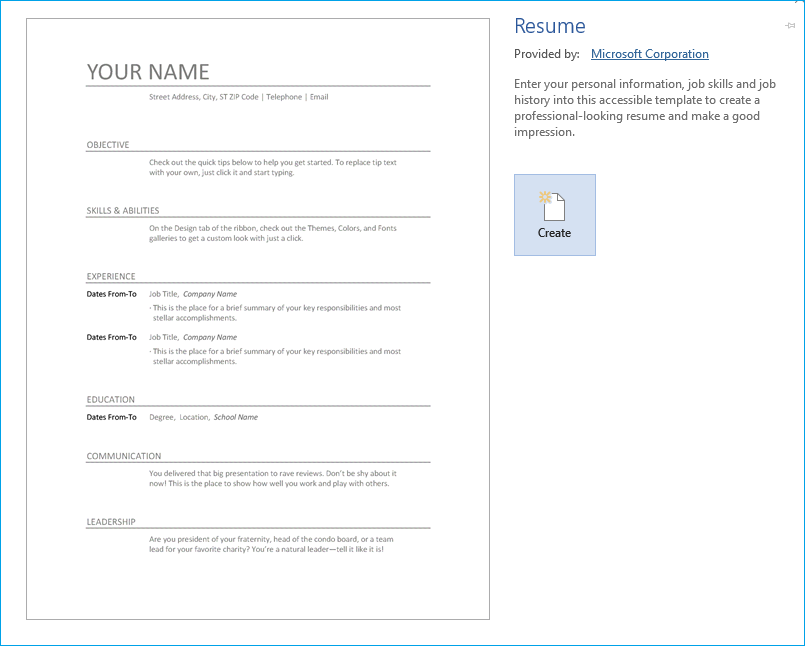 Create a Resume from a template-5
