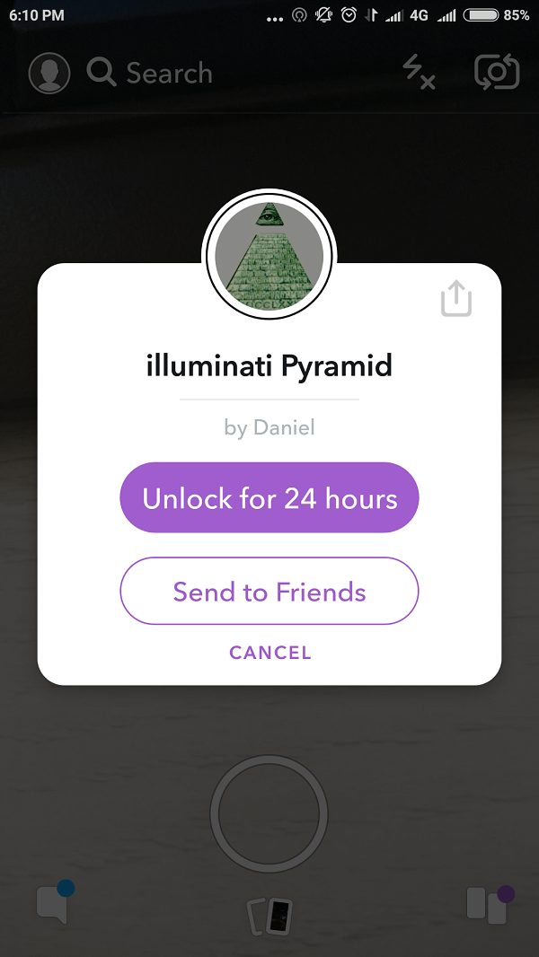 Illuminati Pyramid snapchat lens