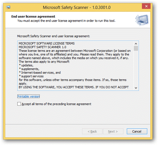 Microsoft Safety Scanner 1.0