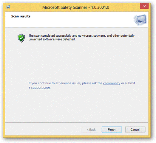 Microsoft Safety Scanner scan result