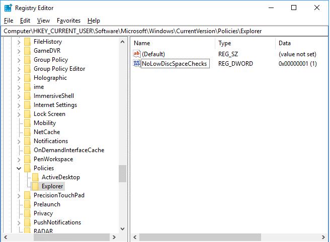 NoLowDiscSpaceChecks data value