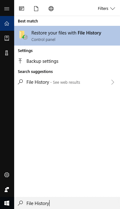Restore Files by Using File History