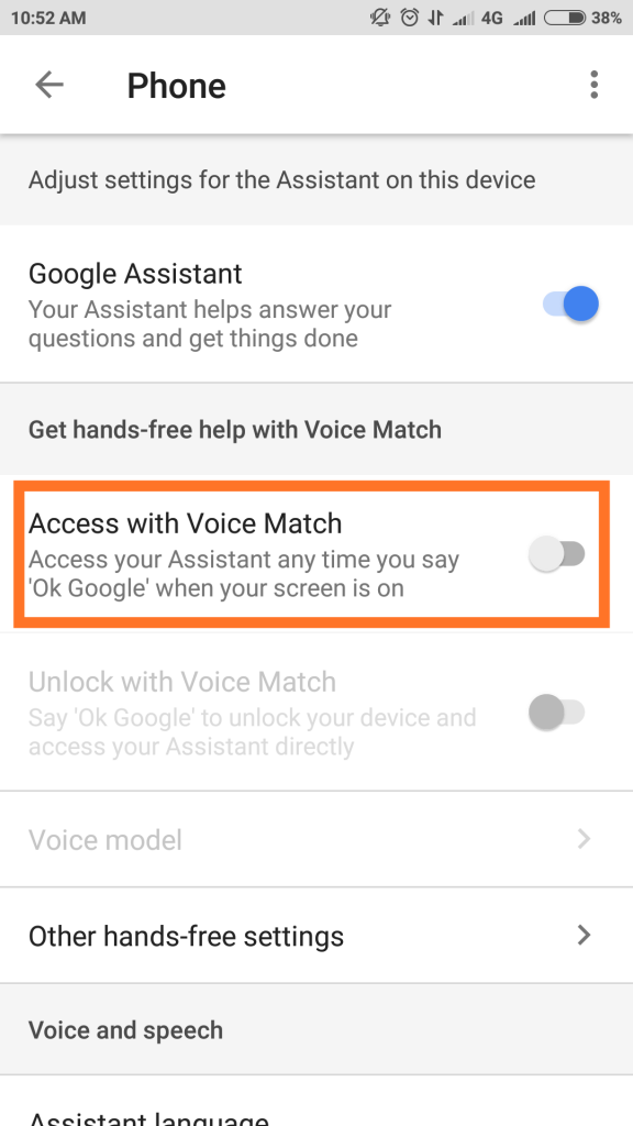 access with voice match