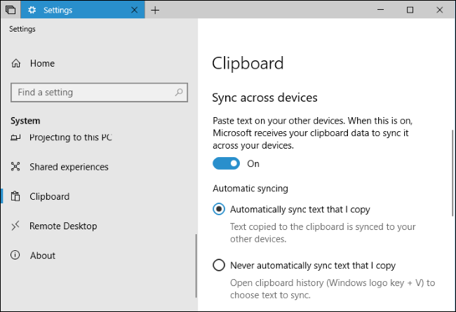 clipboard settings windows 10