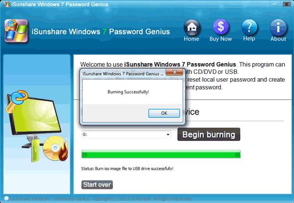 isunshare windows 7 password genius