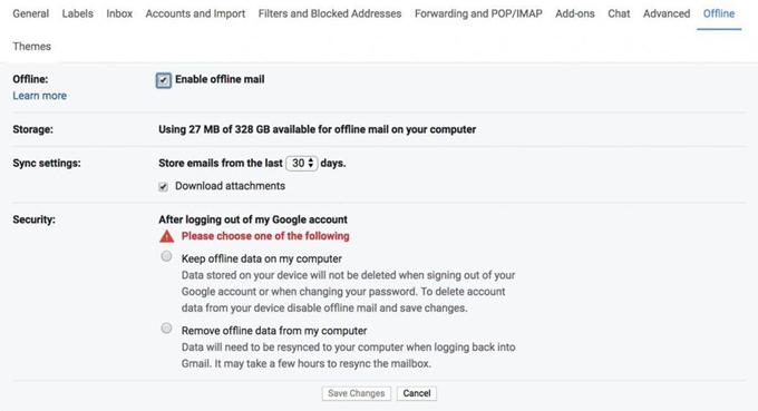Offline mail details