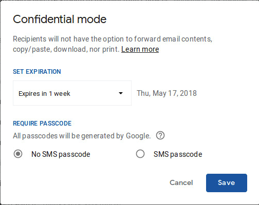 Confidential mode