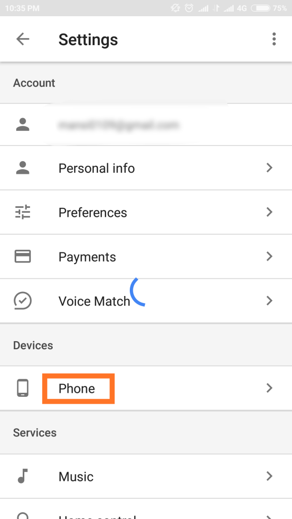 phone in under google settings